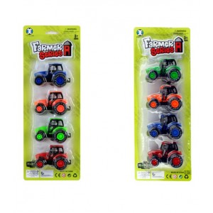 Pack 4 tractores colores blister