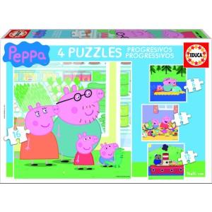 4 puzzles progresivos peppa pig